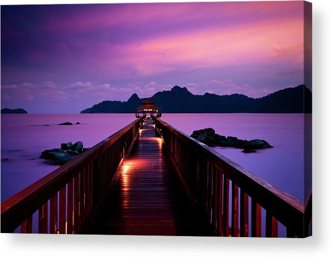 Water's Edge Acrylic Print featuring the photograph Silent Sunset In Pulau Langkawi by 35007