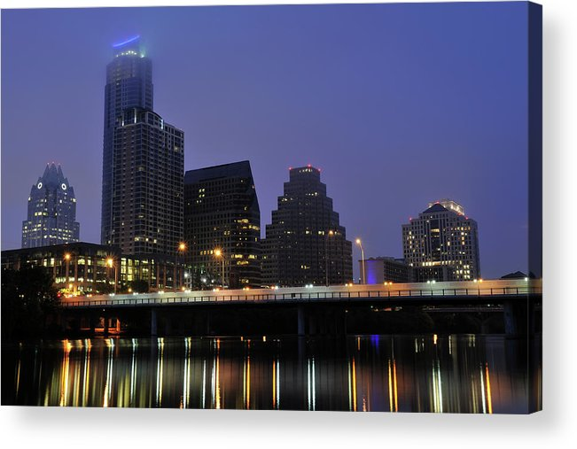 Color Image Acrylic Print featuring the photograph Skyline And Bridge In Austin by Aimintang