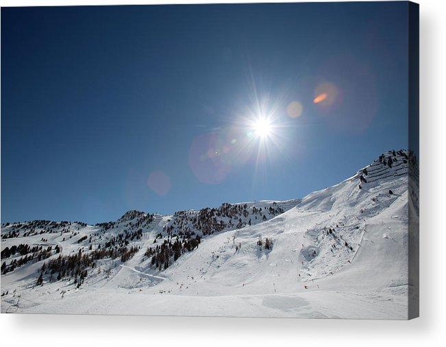 Scenics Acrylic Print featuring the photograph Snowy Ski Resort by Chris Tobin