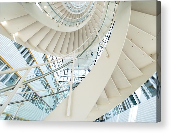 Steps Acrylic Print featuring the photograph Spiral Staircase Inside Office Complex by Blurra