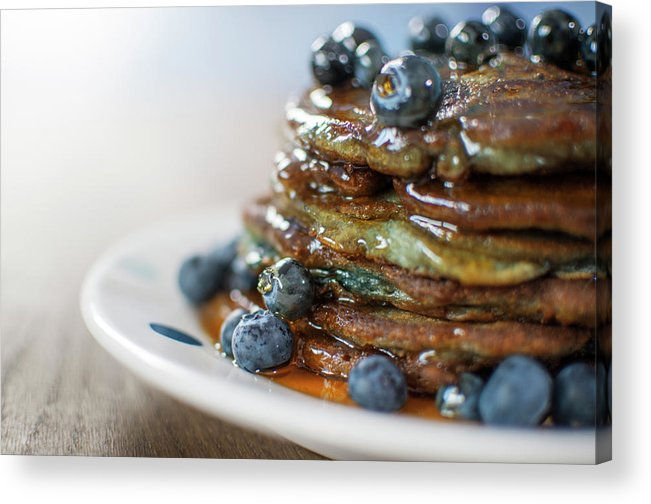 Unhealthy Eating Acrylic Print featuring the photograph Still Life Of Blueberry Pancakes With by Matt Walford