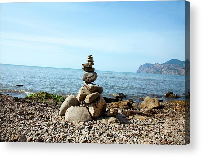 Heap Acrylic Print featuring the photograph Stone Tower On The Beach by Mashabuba