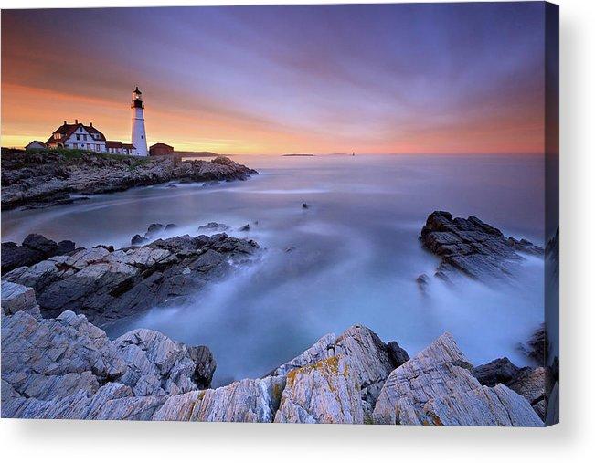 Tranquility Acrylic Print featuring the photograph Summer Sunset At The Portland Head Light by Katherine Gendreau Photography