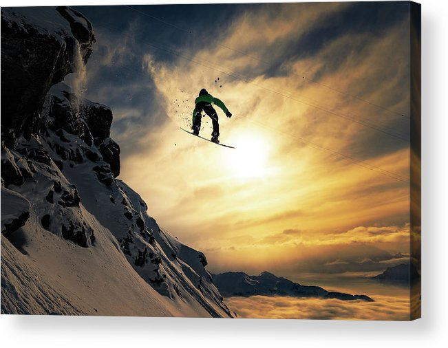 Snowboard Acrylic Print featuring the photograph Sunset Snowboarding by Jakob Sanne