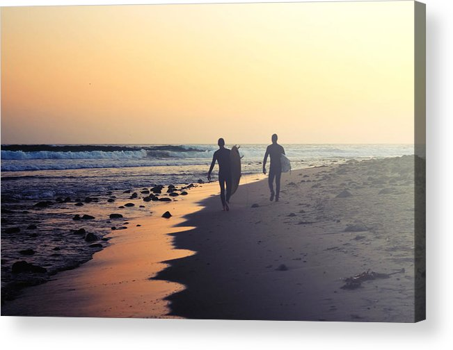 Water's Edge Acrylic Print featuring the photograph Surfing Rincon Point Surfers Beach by Amparo E. Rios