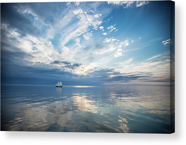 Tranquility Acrylic Print featuring the photograph Tall Ship On The Big Lake by Rudy Malmquist