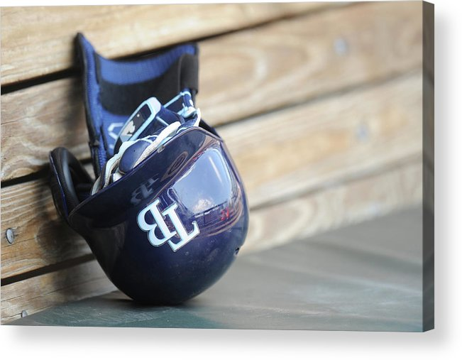 Headwear Acrylic Print featuring the photograph Tampa Bay Rays V Baltimore Orioles - by Mitchell Layton