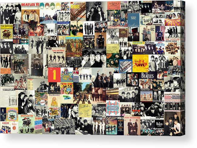 The Beatles Acrylic Print featuring the digital art The Beatles Collage by Zapista OU