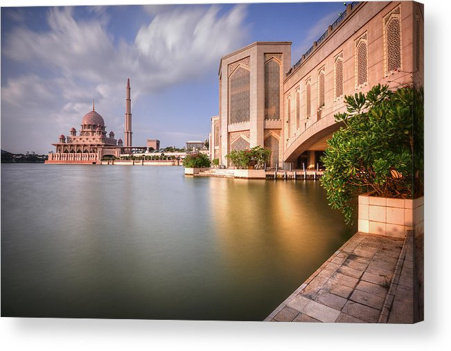 Tranquility Acrylic Print featuring the photograph The Bridge And The Mosque by Khasif Photography