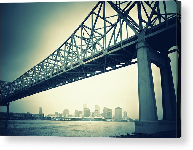 Desaturated Acrylic Print featuring the photograph The Crescent City Connection In New by Moreiso