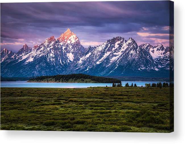 Grass Acrylic Print featuring the photograph The Grand Tetons mountain range in Wyoming, USA. by Stephen Flournoy