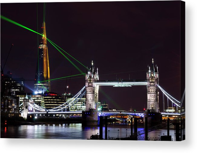 Gothic Style Acrylic Print featuring the photograph The Shard Skyscraper Opening Laser by Dynasoar