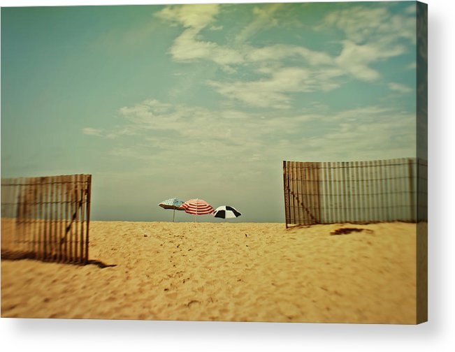 Tranquility Acrylic Print featuring the photograph Three Umbrellas On The Beach by Suzanne Cummings