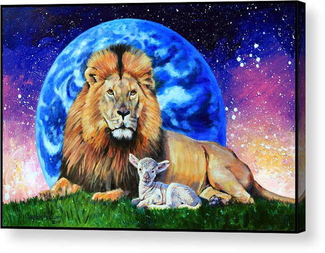 Lion Acrylic Print featuring the painting Thy Kingdom Come by John Lautermilch