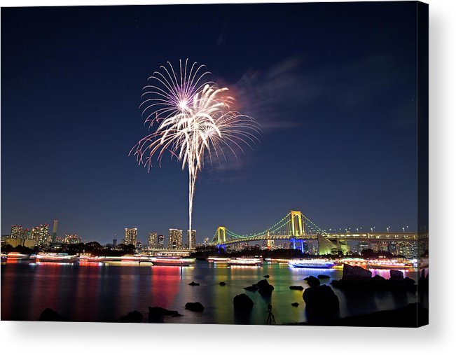 Firework Display Acrylic Print featuring the photograph Tokyo Bay Fireworks by Photography By Zhangxun