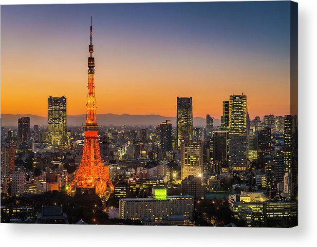 Tokyo Tower Acrylic Print featuring the photograph Tokyo Tower Skyscrapers Neon Futuristic by Fotovoyager