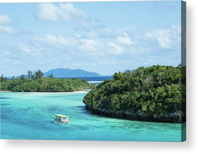 Outdoors Acrylic Print featuring the photograph Tropical Blue Lagoon And Lush Rock by Ippei Naoi