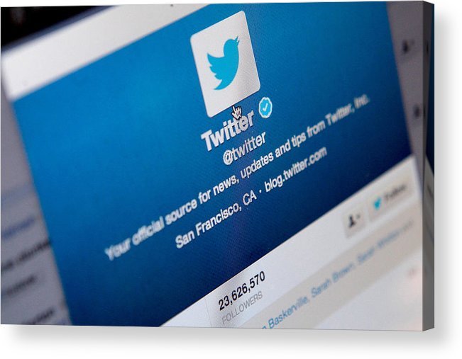 Corporate Business Acrylic Print featuring the photograph Twitter Announces Plan To Float On Stock Market by Mary Turner