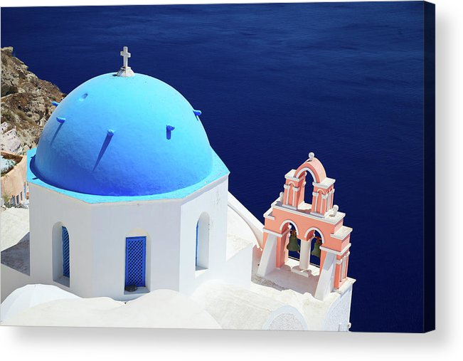 Greek Culture Acrylic Print featuring the photograph Typical Orthodox Greek Church In Oia by Nimu1956