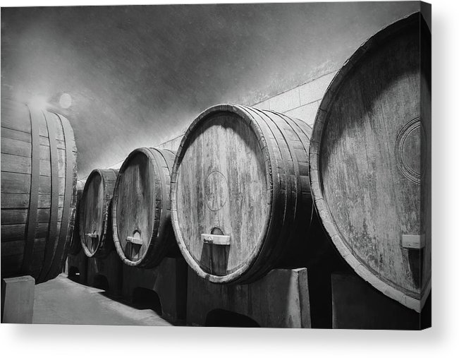 Alcohol Acrylic Print featuring the photograph Underground Wine Cellar With Wooden by Feellife