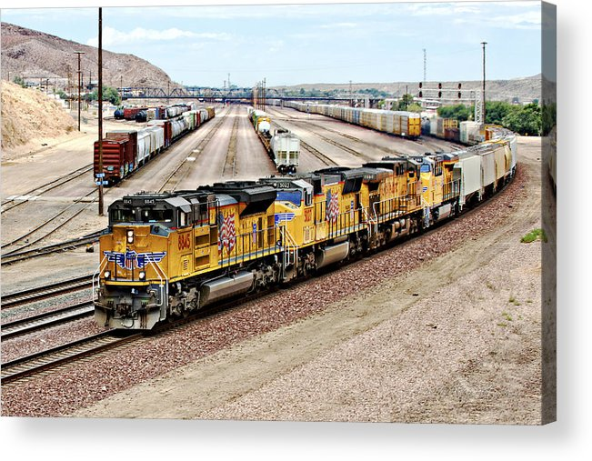 Barstow Acrylic Print featuring the photograph Up8845 Eastbound On The Main Line by Jim Thompson