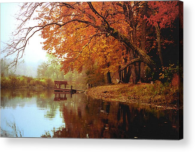 Landscape Acrylic Print featuring the photograph Upper Charles River in Autumn by Roger Soule