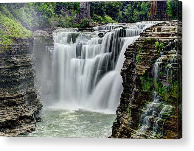 Letchworth State Park Acrylic Print featuring the photograph Upper Letchworth Falls by Tony Shi Photography