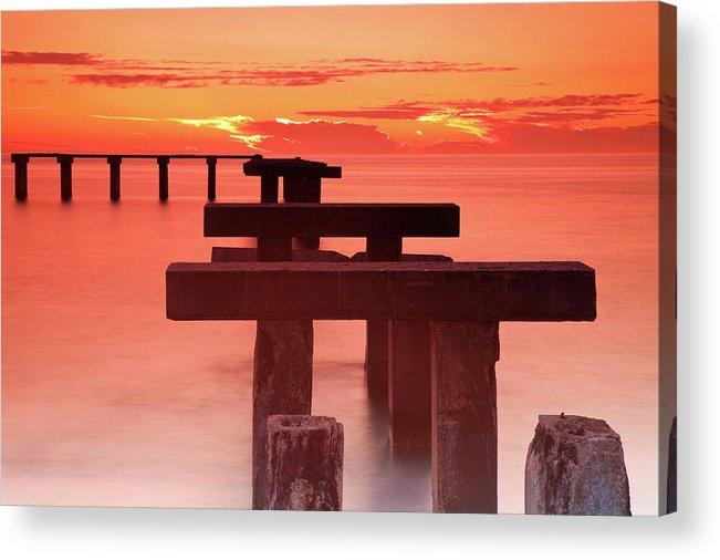 Tranquility Acrylic Print featuring the photograph Usa, Florida, Boca Grande, Ruined Pier by Henryk Sadura