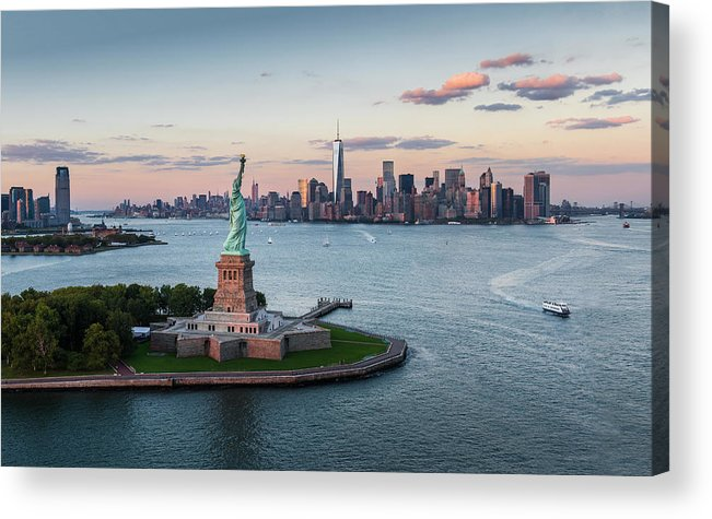 Tourboat Acrylic Print featuring the photograph Usa, New York State, New York City by Tetra Images