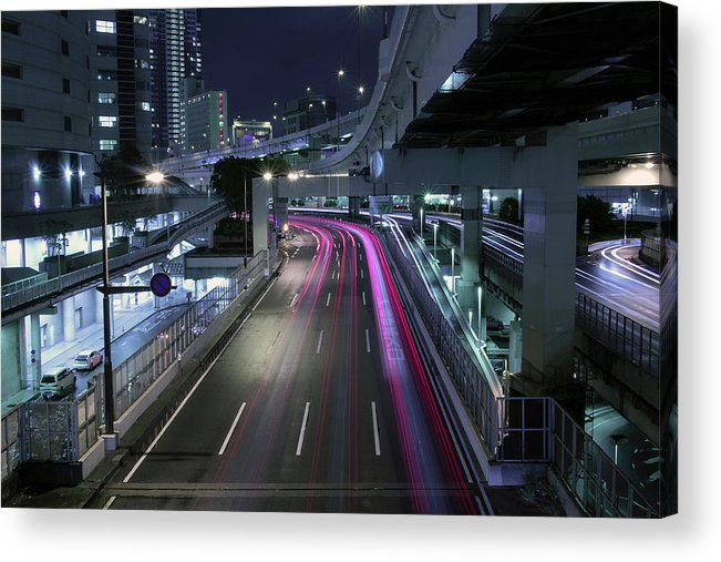 Yokohama Acrylic Print featuring the photograph Vehicle Light Trails On National Route 1 by Digipub
