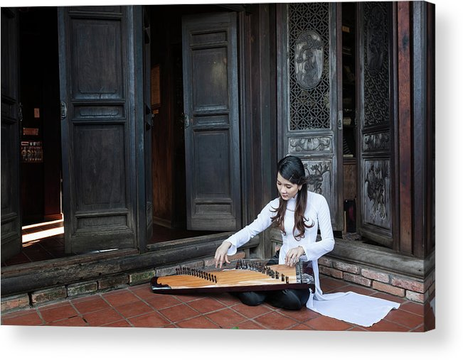 Three Quarter Length Acrylic Print featuring the photograph Vietnamese Ao Dai Playing Orchestra by Jethuynh