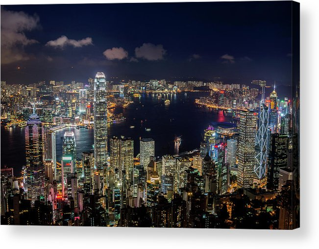 Downtown District Acrylic Print featuring the photograph View From Victoria Peak, Hong Kong by Wilfred Y Wong