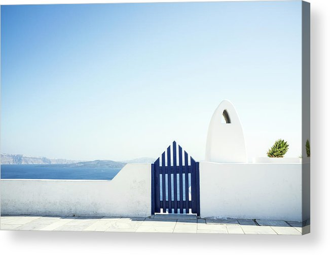 Scenics Acrylic Print featuring the photograph View Of Ocean From Balcony, Greece by Gollykim