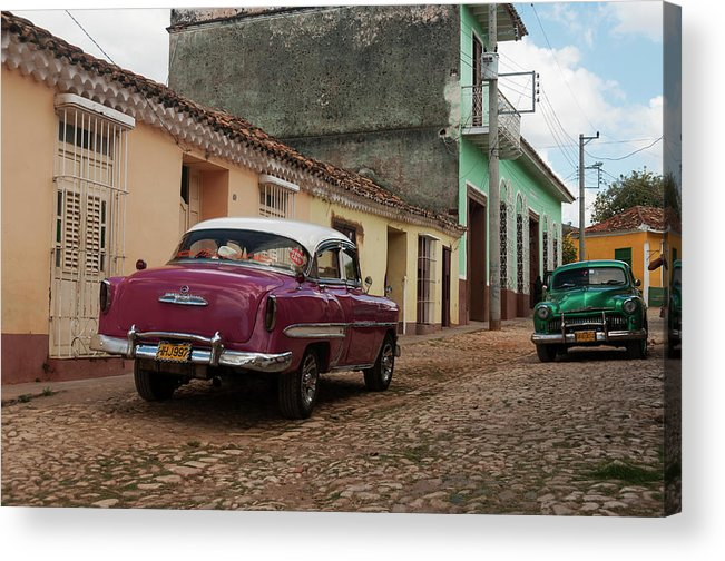 Latin America Acrylic Print featuring the photograph Vintage American Cars In Cuba by John Elk Iii