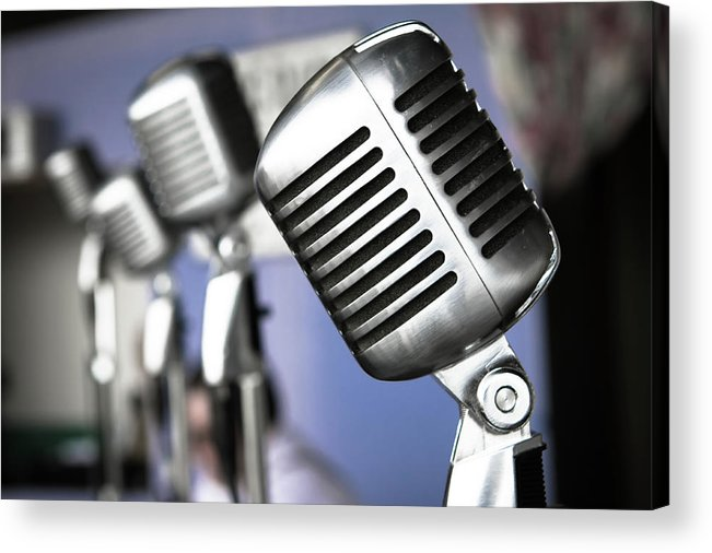 Music Acrylic Print featuring the photograph Vintage Standing Radio Microphones by Photo By Brian T. Evans