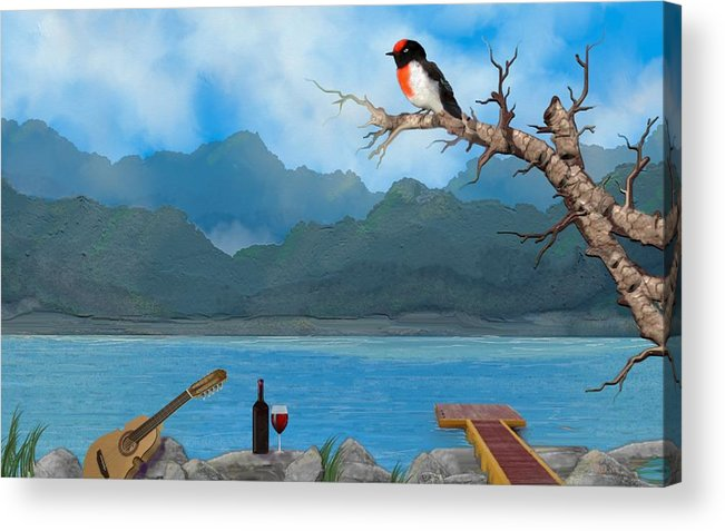 Seascape Acrylic Print featuring the digital art Waiting - Esperando by Tony Rodriguez