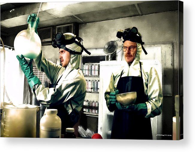 Bryan Cranston Acrylic Print featuring the digital art Walter White and Jesse Pinkman by Gabriel T Toro