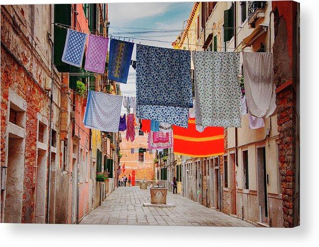 Hanging Acrylic Print featuring the photograph Washing Hanging Across Street, Venice by Svjetlana
