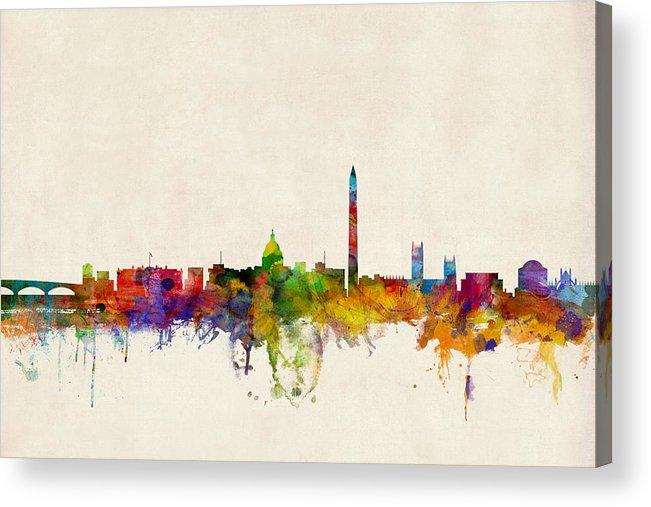 Watercolour Acrylic Print featuring the digital art Washington DC Skyline by Michael Tompsett