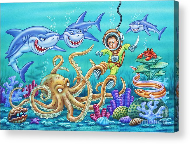 Octopus Acrylic Print featuring the painting Water Warrior by Phil Wilson