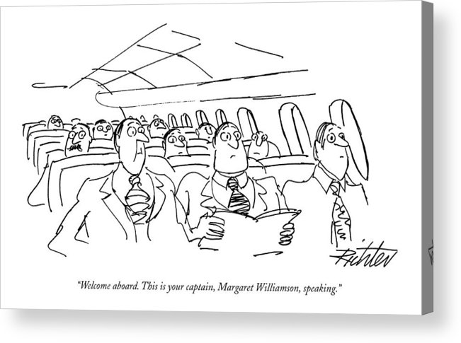 (planeful Of Obviously Surprised Businessmen Listen To Pilot's Voice Over Intercom.) Travel Acrylic Print featuring the drawing Welcome Aboard. This Is Your Captain by Mischa Richter