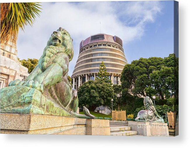 Wellington Acrylic Print featuring the photograph Wellington The Beehive Parliament Buildings New Zealand by Colin and Linda McKie