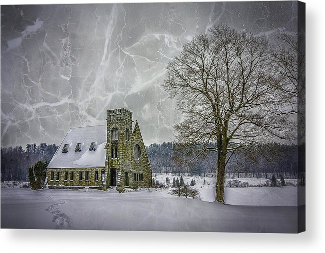 Winter Acrylic Print featuring the photograph Winter on the Old Stone Church by Bob Bernier