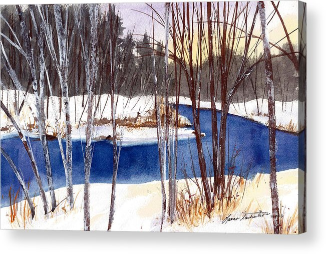 Maine Acrylic Print featuring the painting Winter Open River by Laura Tasheiko