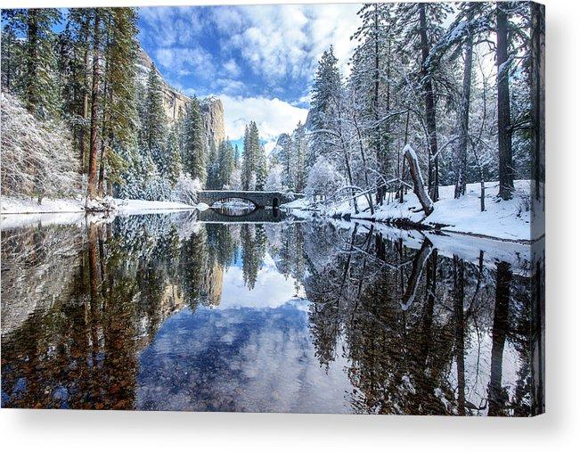 Scenics Acrylic Print featuring the photograph Winter Reflection At Yosemite by Piriya Photography