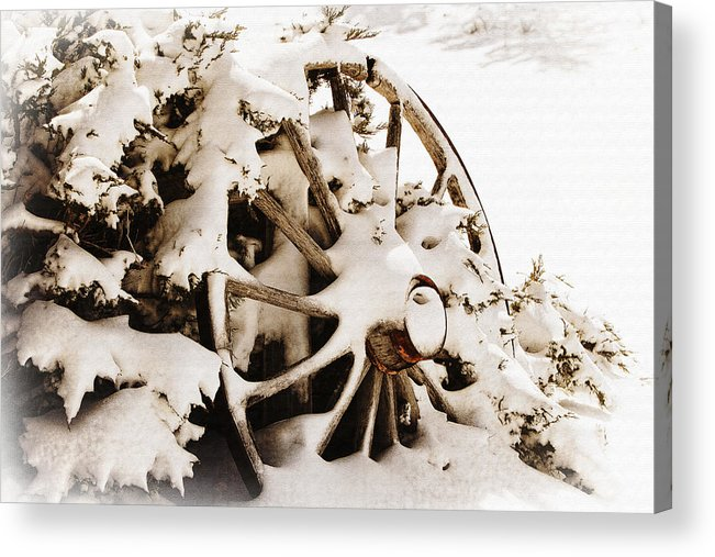 Lincoln Rogers Acrylic Print featuring the photograph Winter Wagon Wheel by Lincoln Rogers