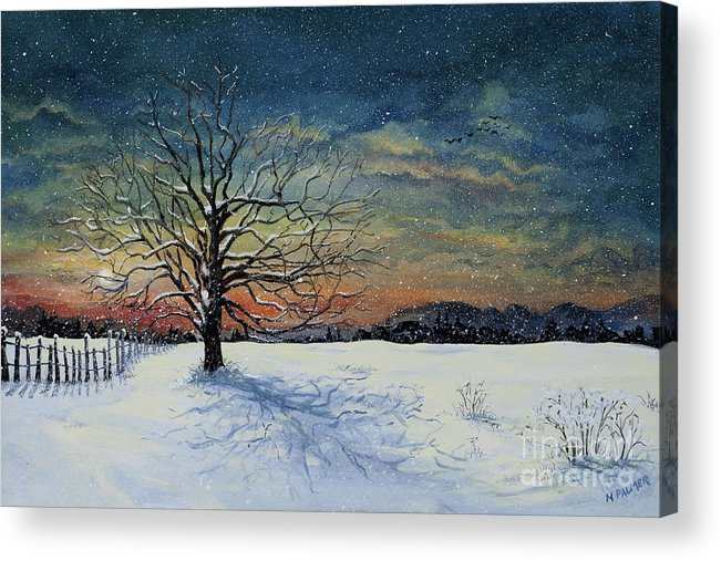Oak Tree Acrylic Print featuring the painting Winters Eve by Mary Palmer