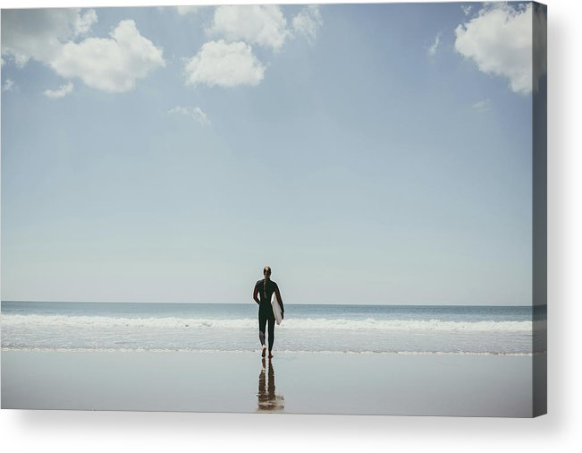 People Acrylic Print featuring the photograph Woman With Surfboard And Swim Suit by Guido Mieth