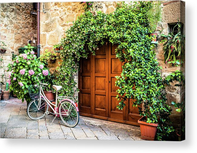 Val D'orcia Acrylic Print featuring the photograph Wooden Gate With Plants In An Ancient by Giorgiomagini