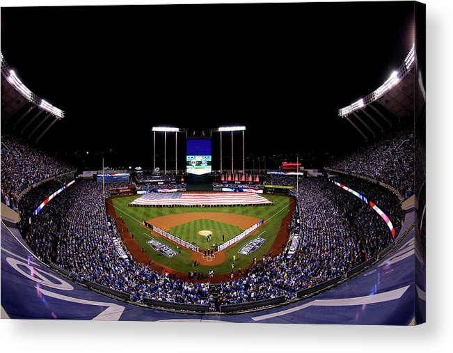 People Acrylic Print featuring the photograph World Series - San Francisco Giants V by Alex Trautwig
